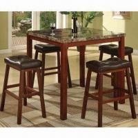 Buy cheap 5pcs Dining Sets, Made of Wood and PVC Sponge Cushion from wholesalers