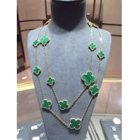 Wholesale Magic Alhambra Long Necklace Van Cleef And Arpels 16 Motifs Yellow Gold Malachite from china suppliers