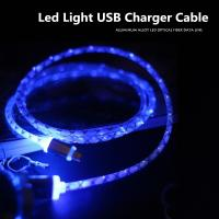 1M Transparent Aluminum LED light Micro USB charger Cable Data Charger Cables For Samsung Galaxy LG G3 HTC Sony Xiaomi
