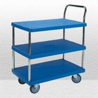 Wholesale 3 Shelves Plastic Industrial Trolley with Single Handle, Various Sizes are Available from china suppliers