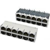 Wholesale 2x8 stacked Modular Jack RJ45 connectors, with transformer, shielded with EMI fingers from china suppliers