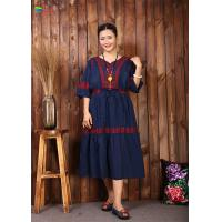 China Navy Blue Embroidered Cotton Dress Women Elegant And Comfortable Tunic on sale