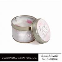 Quality Small Soy Tealight Candles , Tin Can Candles Raspberry / Amber Fragrance for sale
