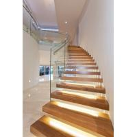 Wholesale Clear glass railing floating stair with Led light from china suppliers