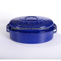 China Blue color porcelain enameled cast iron turkey roaster for Thanks-giving Day on sale