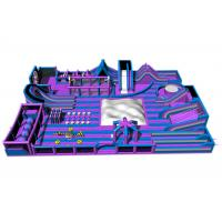 Buy cheap Purple Gigantic Inflatable Theme Park / 0.55 PVC Tarpaulin Inflatable Trampoline from wholesalers