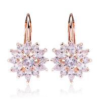 China Rose Gold Color Flower Cubic Zirconia Stud Earrings With Sparkling Stones For Women on sale