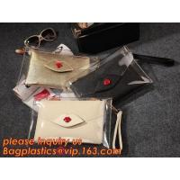 Wholesale Button Closure PVC Clutch Bag For Women Handbag Snap Sleeve Cosmetic Makeup Bag, Satchel Golden Handle Chain Clutch PVC from china suppliers