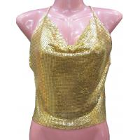 Wholesale Customized  Solid color metal mesh halter top  fashionable ladies clothing from china suppliers