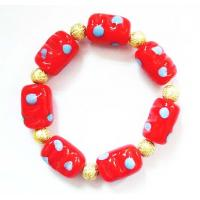 Buy cheap Red Lampwork Glass Beads Bracelet , Zinc Alloy Plated Hand Beaded Jewellery from Wholesalers