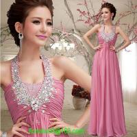 Wholesale Fashion pink/red halter long evening dress 2014 slim chiffon women formal gown vestidos de fiesta free shipping from china suppliers