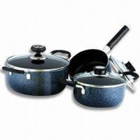 China Heat Resistant Paint Cookware Set with Glass Lid and 16cm Sauce Pan on sale