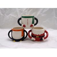 Wholesale Colorful 3D Ceramic Mug Hand Painted Christmas Santa Claus Cup With Two Handle from china suppliers