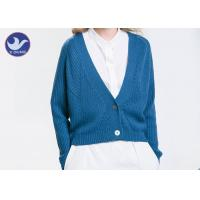 Acrylic Wool Womens Knit Cardigan Sweaters , Blue Long Sleeve Cardigan Sweater