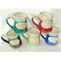 Quality Stoneware Reactive Glaze Mug / Porcelain Coffee Mugs With Embossed Wordings for sale