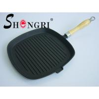 China Square cast iron grill pan ( wooden handle ) on sale