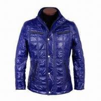 Wholesale Men's Quilted Winter Jackets with Rib Inside Cuff and Collar, Made of Crepe Nylon PU-coated from china suppliers