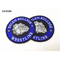 China Heat Press Badge Custom Embroidered Patches , Iron On Patch Applique For Clothing on sale
