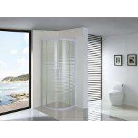 White Parallel Line Printed Curved Shower Glass Enclosure With Screws Installation