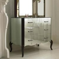 3 Drawer Mirror Furniture Set Special Curved Leg Mirrored Sidebed Table