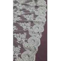 Wholesale 140cm Sequin Beaded Ivory Lace Fabric , White Embroidered Bridal Wedding Lace from china suppliers