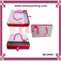 Wholesale Ribbon shopping paper shoe box, carrier paper drawer slide clothing box ME-DR001 from china suppliers