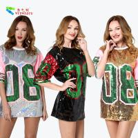 Buy cheap Silver Letter 08 Womens Sequin Clothing Half Sleeve Casual T - Shirt Dress from wholesalers