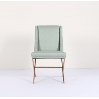 Wholesale Blue H84cm Fabric Upholstered Dining Chairs With Gold Ss Base from china suppliers