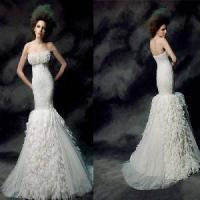 Wholesale Special Strapless Mermaid Ruffled Sweep Train Tulle Bridal Gown (PF10025) from china suppliers