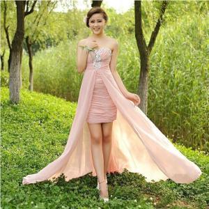 Hot selling pink beading strapless chiffon long dress women formal prom dress vestidos de festa vestido longo in stock