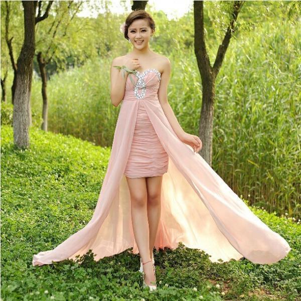 Quality Hot selling pink beading strapless chiffon long dress women formal prom dress vestidos de festa vestido longo in stock for sale
