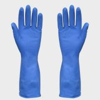 Wholesale Durable Natural Rubber Latex Gloves , Spray Flocklined Blue Latex Gloves from china suppliers