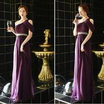 Wholesale New arrival purple long prom dress 2015 one shoulder women chiffon dress vestidos de fiesta free shipping from china suppliers