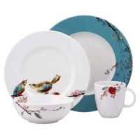 Wholesale Customized White Porcelain China Dinnerware Sets With Bird And Flower Decal Printing from china suppliers