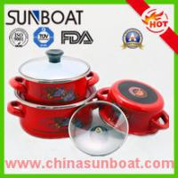 Wholesale 3pcs set hot sale cast iron customized color flower decal enamel casserole from china suppliers