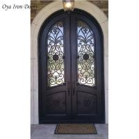 China Wrought Rod Iron Front Double Doors For Sale with glass,black color on sale