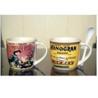 Wholesale Certification SGS/CE Export 9303 spoon ceramic mug with handle custom LOGO coffee mark cup from china suppliers