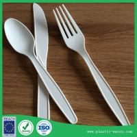 Buy cheap white color corn starch biodegradable disposable dinner knife, spoon, fork from wholesalers