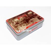 Hinged Lid Rectangular Tin Box 3D Emboss Anzac For Biscuit Storage Container