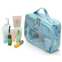 China Double Pullers Transparent Makeup Bag , Small Cosmetic Bags Handmade By Sewing on sale