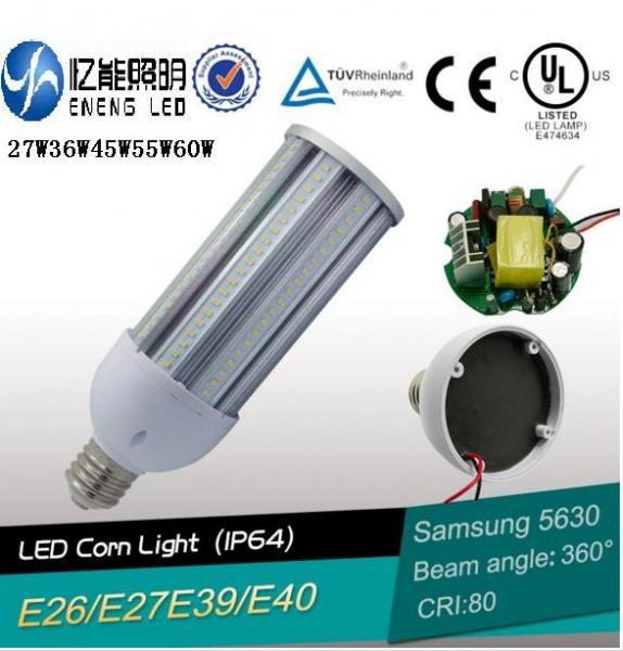 Quality 130LM/W E27E40 45W led street light led corn lamp led high bay  light  led bulb smd5630 cri>80 3 years warranty CE ROHS for sale