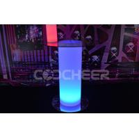 China Ployethylene Waterproof Rechargeable Led Light Glass Top Table with RGB light on sale