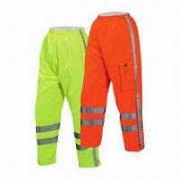 Wholesale Reflective Safety Pants, High Visibility, Windproof and Waterproof, Breathable, PU Coated Fabric from china suppliers