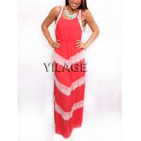 Wholesale 2015 new design hot in summer coral lace Maxi Chiffon Dress from china suppliers