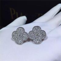 Wholesale Van Cleef Arpels Magic Alhambra earrings 18k white gold and round diamonds from china suppliers