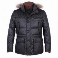 Wholesale Jacket for Men with Real Raccoon Fur, Creative 2-tone Slub Polyester Fabric/Rib Collar/Cuff from china suppliers