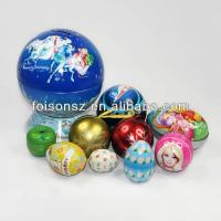 Wholesale Christmas ball with rope, tin ball case for packing, round metal case from china suppliers