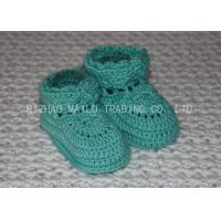 Quality Sky Blue Crochet Toddler Booties Winter Knitted Baby Boots With Shoelaces for sale