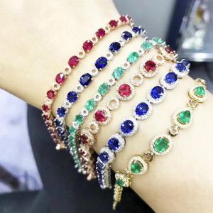 Natural Diamond Gemstone Bracelets With Ruby / Emerald / Sapphire