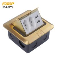 Buy cheap Brass Golden Usb Pop Up Floor Outlet , Longlife CE Floor Electrical Sockets from wholesalers